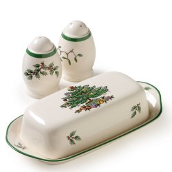 "SPODE ""Christmas Tree"" Hostess Set: Covered Butter 8"" and Salt and Pepper Shakers 3"" #1359477"