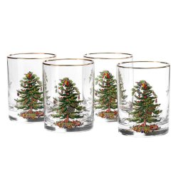 """SPODE """"Christmas Tree"""" Double Old Fashioned Glasses 14oz. Set of 4 #4339205"""