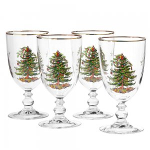 "SPODE ""Christmas Tree"" Pedestal Goblets 16oz. Set of 4 #4339601"
