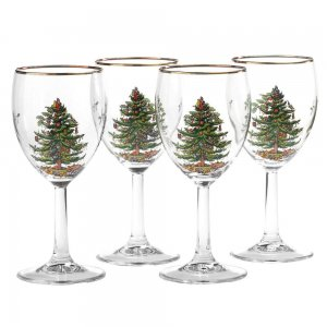 "SPODE ""Christmas Tree"" Wine Glasses 13oz. Set of 4 #4339906"