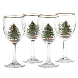 "SPODE ""Christmas Tree"" Wine Glasses 13oz. Set of 4 #4339908"