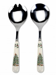 "SPODE ""Christmas Tree"" Set of 2 Salad Servers 9.25"" each #1496972"