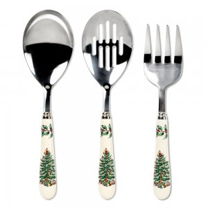 "SPODE ""Christmas Tree"" 3 Piece Serving Set (Meat Fork, Serving Spoon, Slotted Spoon 10"" each)"