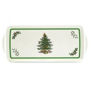 "SPODE ""Christmas Tree"" Sandwich Tray with Handle 15.1"" x 6.5"" #2019418338"