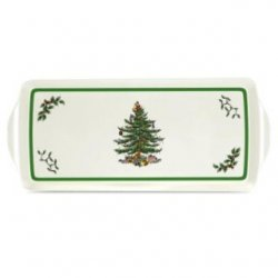 "SPODE ""Christmas Tree"" Sandwich Tray with Handle 15.1"" x 6.5"" #2019438338"