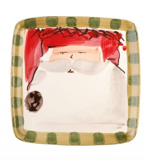 VIETRI Old St. Nick Red Hat Square Salad Plate Style #OSN-7801A