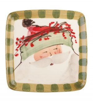 VIETRI Old St. Nick Green Hat Square Salad Plate Style #OSN-7801B