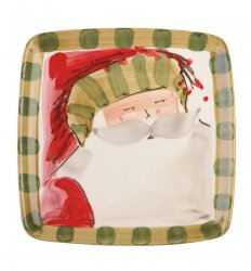 VIETRI Old St. Nick Striped Hat Square Salad Plate Style #OSN-7801D