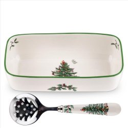"""SPODE """"Christmas Tree"""" Cranberry Server with Slotted Spoon 8""""/6.5"""""""