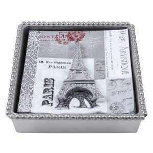 MARIPOSA Eiffel Tower Beaded Napkin Box Style #1622-C