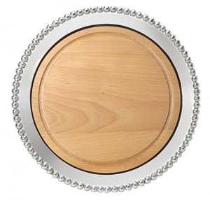 MARIPOSA Pearled Round Platter with Wood Style #618