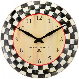 MacKenzie-Childs Courtly Check Enamel Clock 12""