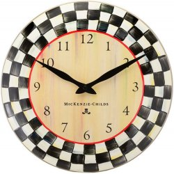 MacKenzie Childs Courtly Check Enamel Clock 12""