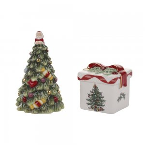 "SPODE ""Christmas Tree"" Gold Tree and Gift Box Salt and Pepper Shakers"