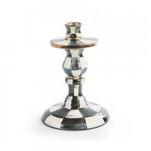 MacKenzie Childs Courtly Check Enamel Candlestick - Small