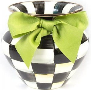 MacKenzie Childs Courtly Check Enamel Vase - Green Bow