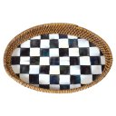 MacKenzie Childs Courtly Check Rattan & Enamel Tray - Small
