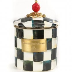 MacKenzie Childs Courtly Check Enamel Canister - Small