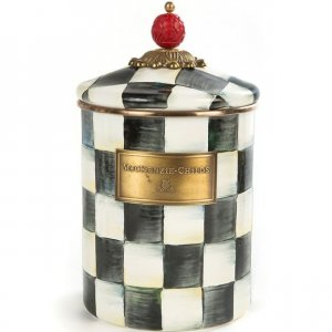 MacKenzie Childs Courtly Check Enamel Canister - Medium