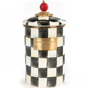 MacKenzie Childs Courtly Check Enamel Canister - Large