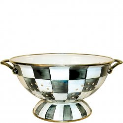 MacKenzie Childs Courtly Check Enamel Colander - Large