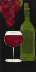 "All Clad Wine Bottle Print Kitchen Towel in Black - 17"" x 30"""