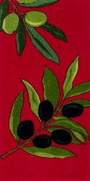 "All Clad Olive Branch Print Kitchen Towel in Chili - 17"" x 30"""
