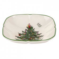 """SPODE """"Christmas Tree"""" Sculpted Square Dish 5.5"""" #1612372"""