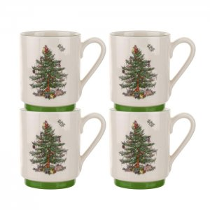 "SPODE ""Christmas Tree"" Set of 4 Stacking Mugs 12 oz. #1612259"