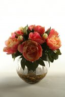 Pink Peonies in Glass Ball