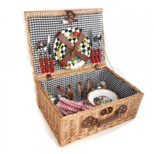MacKenzie Childs Berries and Blossoms Picnic Basket for Two