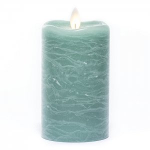 """Candle Impressions Flameless Frosted Sea Green 3"""" x 5"""""""
