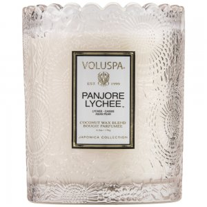 """""""Voluspa"""" Scalloped Edge Embossed Glass Candle - Panjore Lychee - Style #7206"""