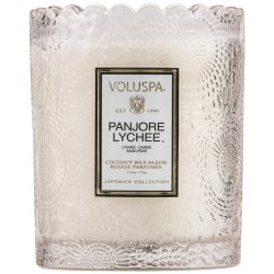 """Voluspa"" Scalloped Edge Embossed Glass Candle - Panjore Lychee - Style #7206"