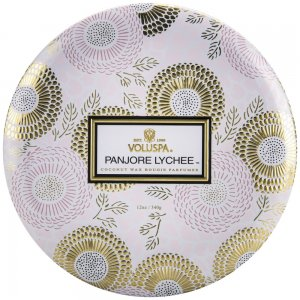 Voluspa 3 Wick Candle In Decorative Tin - Panjore Lychee - Style #7226