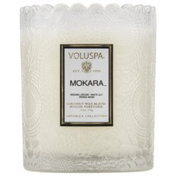 """Voluspa"" Scalloped Edge Embossed Glass Candle - Mokara - Style #7208"
