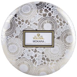 """Voluspa"" 3 Wick Candle In Decorative Tin - Mokara - Style #7228"