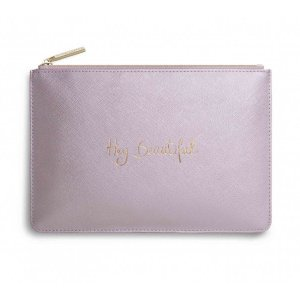 Katie Loxton Perfect Pouch - Hey Beautiful - Metallic Pink