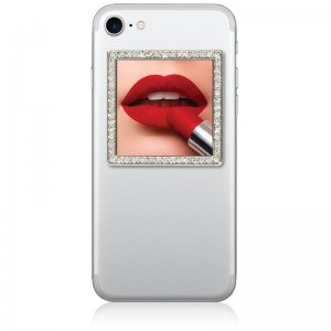 iDecoz Silver Square with Crystals Phone Mirror