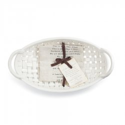 Demdaco Ceramic Bread Basket with Tea Towel