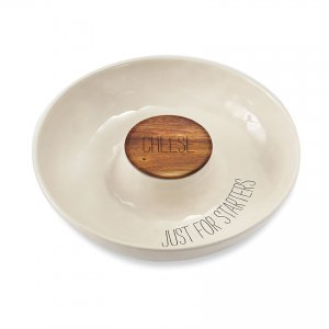 Mud Pie Ceramic Covered Cheese Chip & Dip Serving Bowl