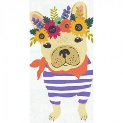 Floral Frenchie Printed Dual Kitchen Towel #19629