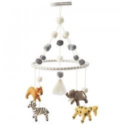 Mud Pie Safari Animal Wool Mobile