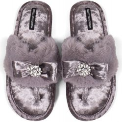 Pretty You London Faux-Fur Toe-Post Slipper with Embellished Velour Bow - Mink