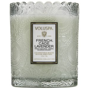Voluspa Scalloped Edge Embossed Glass Candle - French Cade Lavender - Style #7204