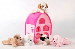Plush Pink Dog House