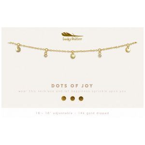 Lucky Feather 14K Gold Dipped Necklace - Dots of Joy