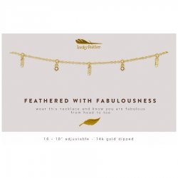 Lucky Feather 14K Gold Dipped Necklace - Feathered With Fablousness