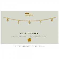 Lucky Feather 14K Gold Dipped Necklace - Lots of Luck