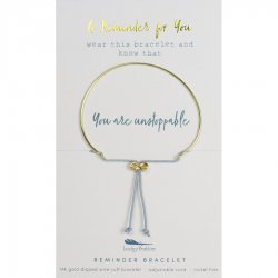 Lucky Feather 14K Gold Reminder Bracelet - You Are Unstoppable